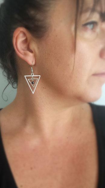 ISIS - Boucles d'oreilles triangles boucles d'oreilles argent, boucles d'oreilles graphiques, boucles d'oreilles fait main