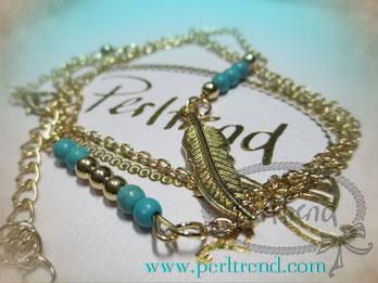 Halskette Feder goldfarben www.perltrend.com