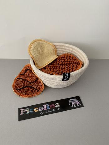 Geschenkbeispiel: Waschbare Wattepads mit Seilkörbchen
