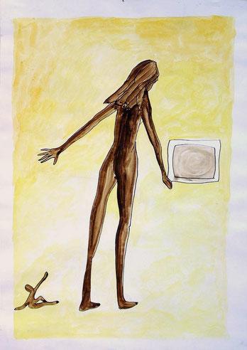 jens könig: titel. das kind die mutter der fernseher, 1997, wasserfarbe und tusche, 42x59 cm