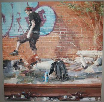 Graffitero.óleo sobre tabla. 80x80cm