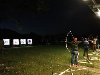 Beleuchtete Zielscheiben der Bogenschützen aus Esslingen