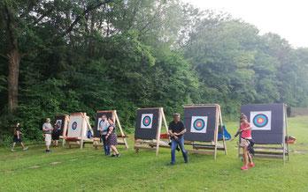 Zielscheiben und Bogenschützen in Esslingen