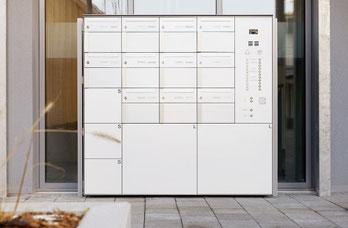 Smarte Paketbox / Paketfachanlage von Stebler und Glutz in weiß