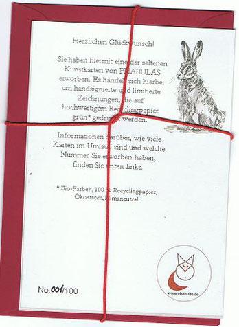 Kunstkarte Rückseite: Fuchs