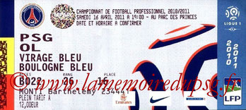 Ticket  PSG-Lyon  2010-11