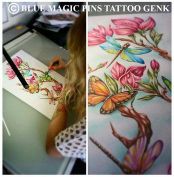 Blue Magic Pins tattoo custom design tattoo Genk Belgium