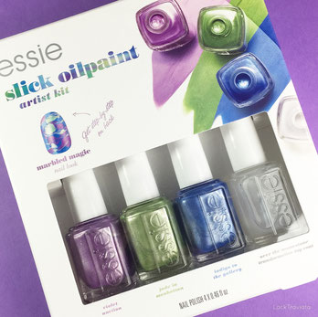 essie slick oilpaint artist kit, violet auction, jade in manhattan, indigo to the gallery, over the moonstone