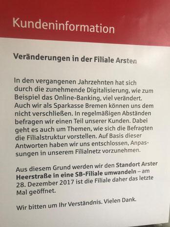 Die Beraterfiliale der Sparkasse in Bremen-Arsten wurde bereits Ende 2017 geschlossen und durch eine reine SB-Filiale ersetzt (Foto: 04-2018, Jens Schmidt)