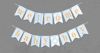 welcome baby boy Girlande Papier Geburt Baby