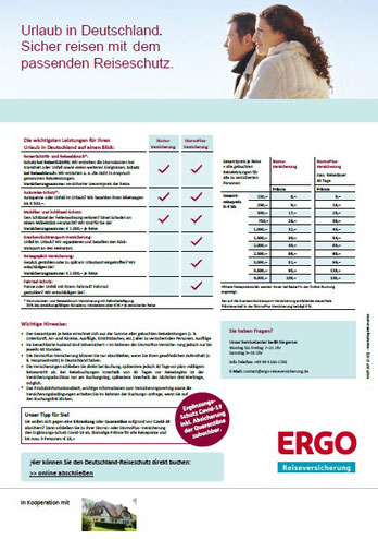 PDF-Flyer mit Buchungslink für die Deutschland-Reiseversicherung der ERGO, die Storno-Versicherung mit Corona-Covid-19-Zusatz-Reiseschutz