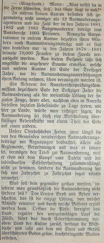 Kritische Stimme zur Auswanderung aus dem Kanton Glarus, Glarner Nachrichten 1884