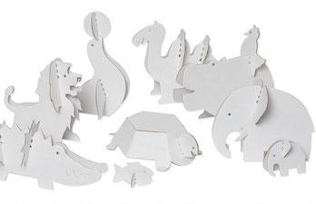 Kreativität: Pappspielzeuge Zootier zum bemalen