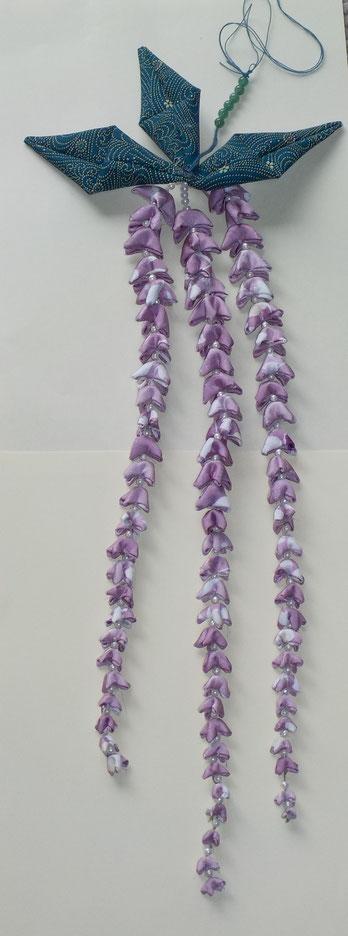 ながーい 藤の飾り(つまみ細工)