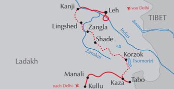 Landkarte Ladakh-Reise Trekking «Lange Traverse durch Ladakh» auf dem Great Himalaya Trail