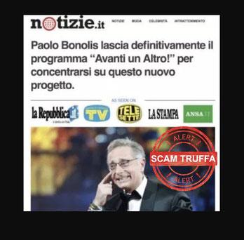 paolo bonolis non ha investito in bitcoin future truffa bufala