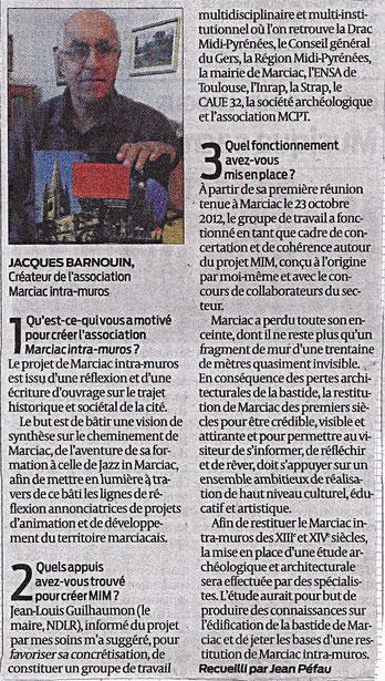 """Le quotidien Sud Ouest s'intéresse au projet """"Marciac Intra Muros"""""""