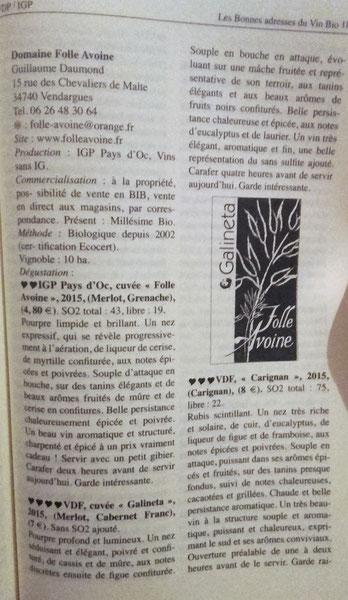 Guide CARITE des vins bio et bio-dynamiques 2017-2018
