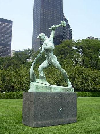 Esaïe 2 :4 : «  Martelant leurs épées, ils forgeront des socs pour leurs charrues, et, de leurs lances, ils feront des faucilles. Plus aucune nation ne brandira l'épée contre une autre nation, et l'on n'apprendra plus la guerre. » Devant l'ONU à New-York.