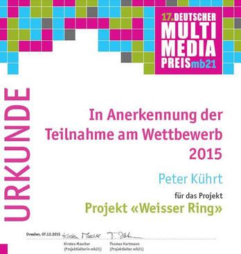 Multimediapreis mb21 2015: Zu einem Preis hat es nicht gereicht, aber zumindest eine Anerkennungsurkunde haben wir bekommen.