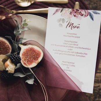 Hochzeitspapeterie Bordeaux Herbst weinrot