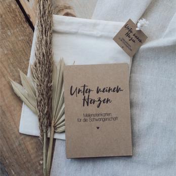 """Meilensteinkarten für die Schwangerschaft """"Unter meinem Herzen Kraftpapier"""""""
