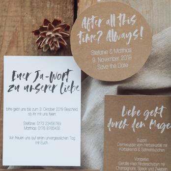 Hochzeitspapeterie Kraftpapier natur