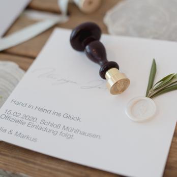 clean wedding Hochzeitspapeterie Siegelstempel