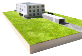 Verkaufsmodell Mehrfamilienhaus um Maßstab 1:200