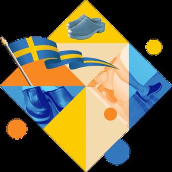 Ce visuel représente une composition décalée mettant en scène des sabots suédois pour femme avec le drapeau suédois