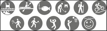 piscine, tennis, pèche, mini-golf, canoë, randonnée, VTT, basket, ping-pong, volley, jeu gonflable
