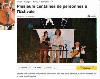 """Article sur """"Coup d'Poudre !"""" dans OuestFrance - Septembre 2014"""