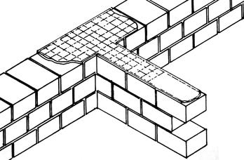 intersezione tra murature di blocchi di laterizio rinforzata con rete elettrosaldata inserita nei giunti di malta
