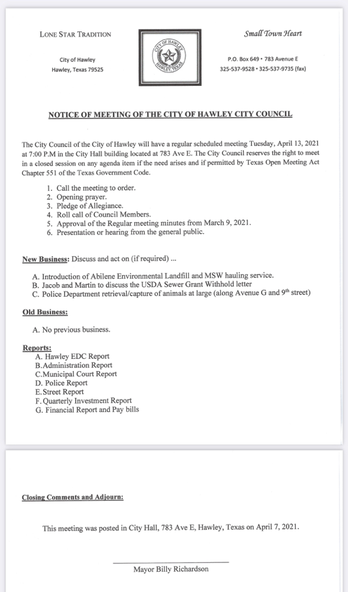 April 13, 2021 Regular Meeting Agenda