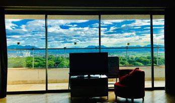 Blick vom Zimmer gegen die Berge und Belek