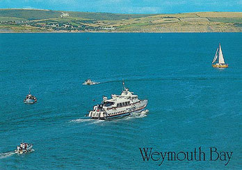 Condor 5 heading to Weymouth at slow speed.