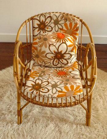 fauteuil coquille rotin JOLI tissu vintage