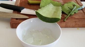 Utilisation de l'Aloe vera dans une recette de cuisine.