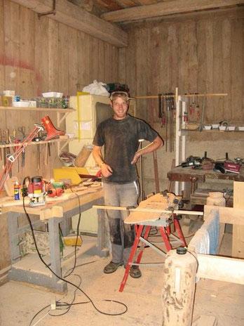 Bild von mir in meiner Werkstatt in Slowenien