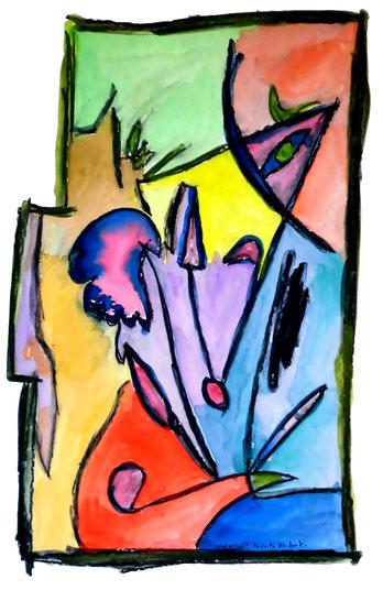 """Malerei """"Landschaft"""", Werkverzeichnis 1.150. Datiert 16.11.96. Aquarell auf Papier. Größe b 51,0 cm * h 73,3 cm"""