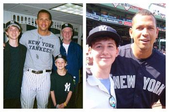 Nella foto a sinistra Alex con il piccolo Patrick, il fratello maggiore e il padre nel 2005 -  A destra assieme a Patrick cresciuto