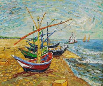 Рыбацкие лодки на береегу в Сен-Мари - Винсент Ван Гог