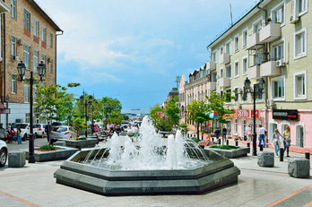 Vladivostok- Fountains at Admiral Fokin street in the historic district of Vladivostok
