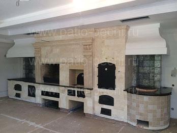 Готовый барбекю комплекс в доме с мангалом печь для казана духовка русская печь тандыр коптильня