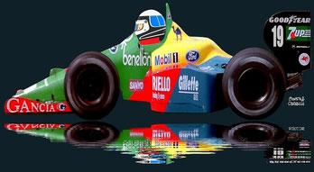 Alessandro Nannini con su Benetton 189 en Suzuka en 1989 by Muneta & Cerracín