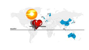 Sonnenschein und die Chronobiologie des Herzinfarkts in verschiedenen Breitengraden (Grafik: BIOTEC [https://pixabay.com/en/cardiac-pulse-systole-heartbeat-156059])))