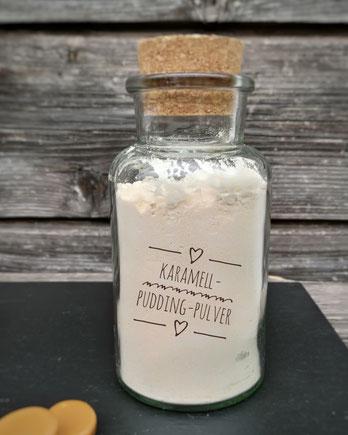 Karamell-Pudding-Pulver auf Vorrat mit Karamellbonbons