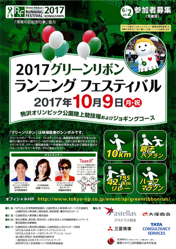 2017年グリーンリボンランニングフェスティバルのチラシ