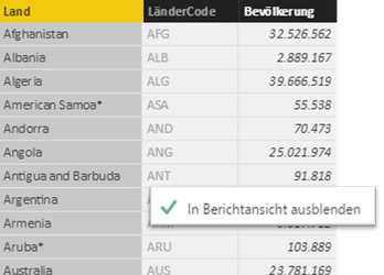 Power BI Desktop, In Berichtsansicht ausblenden (Hide from Client Tools)