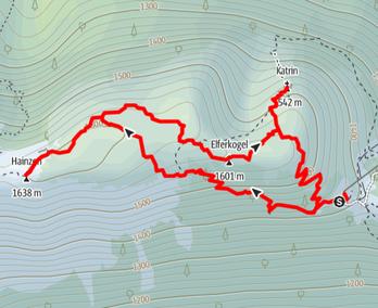Route von der Katrin Seilbahn auf Hainzen, Elferkogel und Katrin Gipfel
